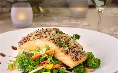 Seared Salmon over mixed vegetables