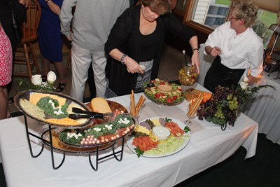 People eating a buffet style meal