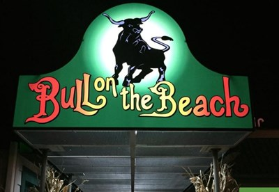 Bull on the Beach sign over the doors beckons diners