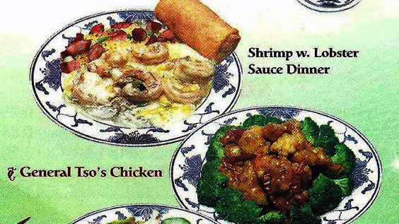 Illustration of shrimp and lobster & tao's chicken dinners.