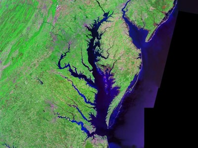 Aerial Satellite View of  the Chesapeake Bay.