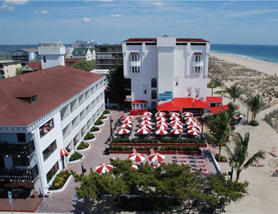 Aerial View of Coconut's Bar & Grill  beach & oceanfront patio.