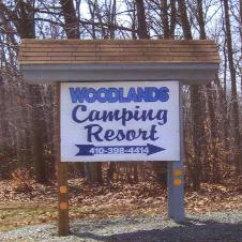 Woodlands Camping Resort sign