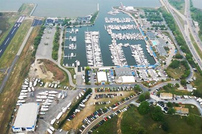 Aerial view of Bay Bridge Marina