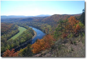 Aerial fall view of Green Ridge State Forest