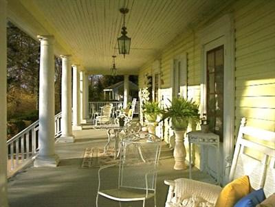 Season at Magnolia Manor front porch