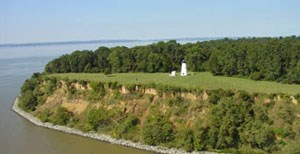 Aerial view of Turkey Point Lighthouse located at Elk Neck State Park and Forest