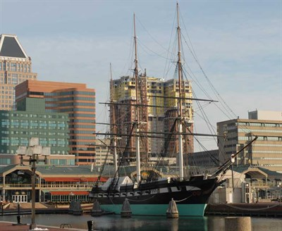 USS Constellation docked in the Inner Harbor