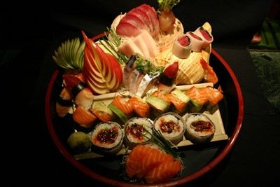 Sushi prepared at Minato Sushi Bar