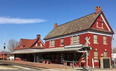 historic red railway building