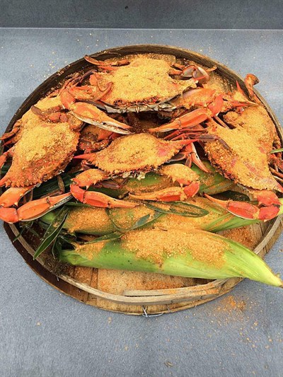 Steamed crabs and and corn on cob