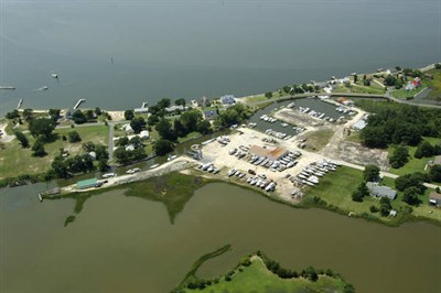 Aerial view of Scott's Cove Marina