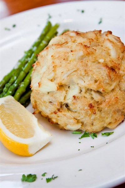 Crab cake and asparagus