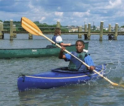 Boy in a kayak