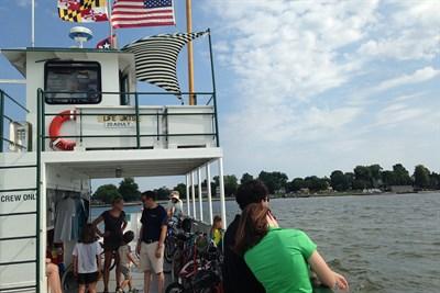 People aboard the Oxford-Bellevue Ferry