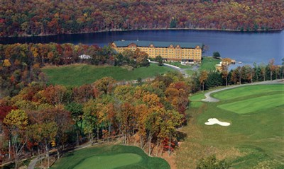 Overhead view of the Rocky Gap Lodge and Golf Course