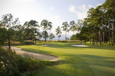 Picture of a fairway and sand traps at the Swan Point Yacht & Country Club
