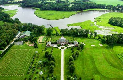 An overhead view of the Bordeleau Vineyards and Winery